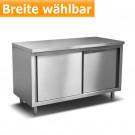 Produktabbildung Edelstahl-Arbeitsschrank ASS 700 für Gastronomiebetriebe, 70cm tief, Breite frei wählbar, Edelstahlmöbel günstig online kaufen bei gastlando.de