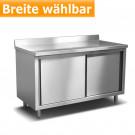 Produktabbildung Edelstahl-Arbeitsschrank ASS 700 A mit Störer, Edelstahlmöbel für Gastronomiebetriebe, gastlando.de - GastroShop