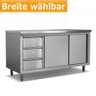 Produktabbildung Edelstahl-Arbeitsschrank ASSBL 600, 60x85cm, Breite frei wählbar, Edelstahl-Gastromöbel online kaufen
