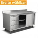 Produktabbildung mit geöffneter Tür Edelstahl-Arbeitsschrank ASSBL 700 A mit 10cm Aufkantung für Gastronomiebetriebe, Breite wählbar, 70x85cm, jetzt bei gastlando.de