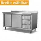 Produktabbildung Arbeitsschrank ASSBR 600 aus Edelstahl, Breite wählbar, 60x85cm, mit 10cm Aufkantung, Edelstahlmöbel für Gastronomiebetriebe