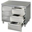 Produktabbildung Arbeitsschrank ASSB 10x7-6, Edelstahl-Arbeitsschrank für Gastronomiebetriebe mit sechs Schubladen, 100x70x85cm