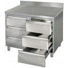 Produktabbildung Arbeitsschrank ASSB 10x7-6 A mit Aufkantung, Edelstahl-Arbeitsschrank für Gastronomiebetriebe mit sechs Schubladen, 100x70x85cm